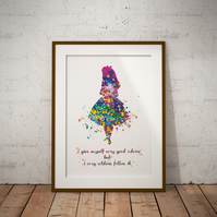 Alice in Wonderland Quote 4 Watercolor Print Wall Art
