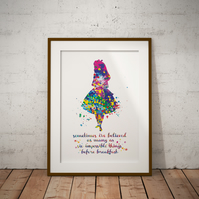 Alice in Wonderland Quote 6 Watercolor Print Wall Art