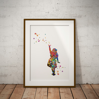 Alice in Wonderland Standing  Watercolor Print Wall Art