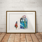 Tardis Alice in Wonderland Watercolor Print Wall Art