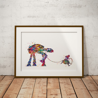 Alice in Wonderland AT-AT Watercolor Print Wall Art