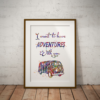 Adventures Quote Watercolor Print Wall Art