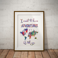 Adventures Quote World Watercolor Print Wall Art