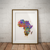 Africa Watercolor Print Wall Art