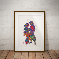 Aladdin Dance Watercolor Print Wall Art