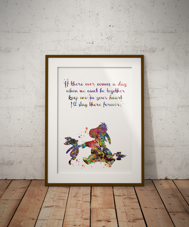 Eeyore And Piglet Quote Watercolour Print Wall Art