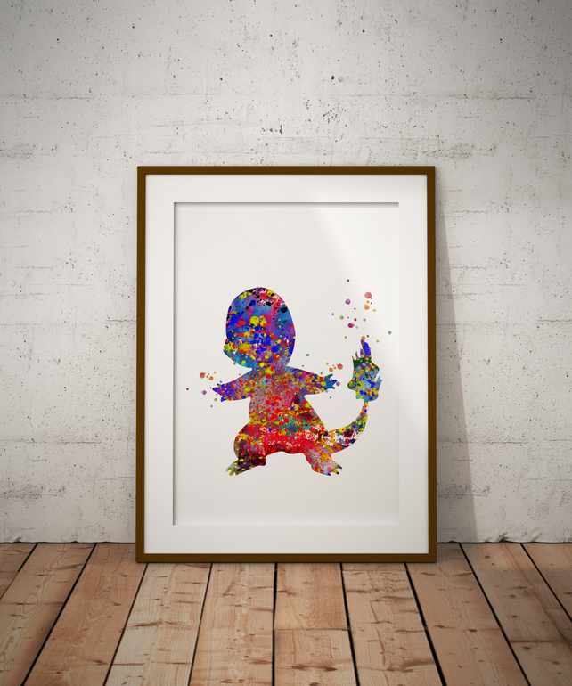 Charmander Watercolour Print Wall Art