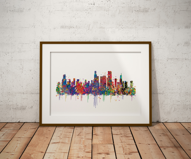 Chicago Watercolour Print Wall Art