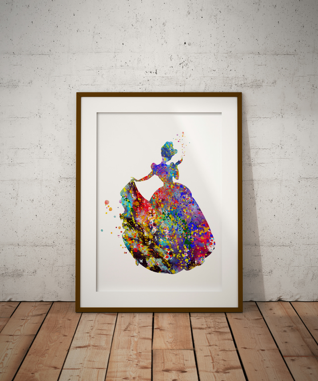 Cinderella Watercolour Print Wall Art