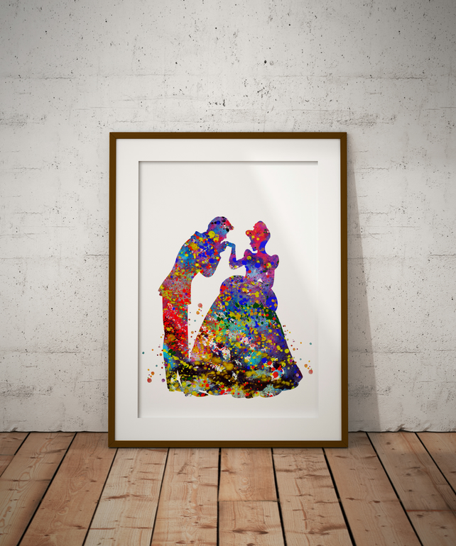 Cinderella 3 Watercolour Print Wall Art