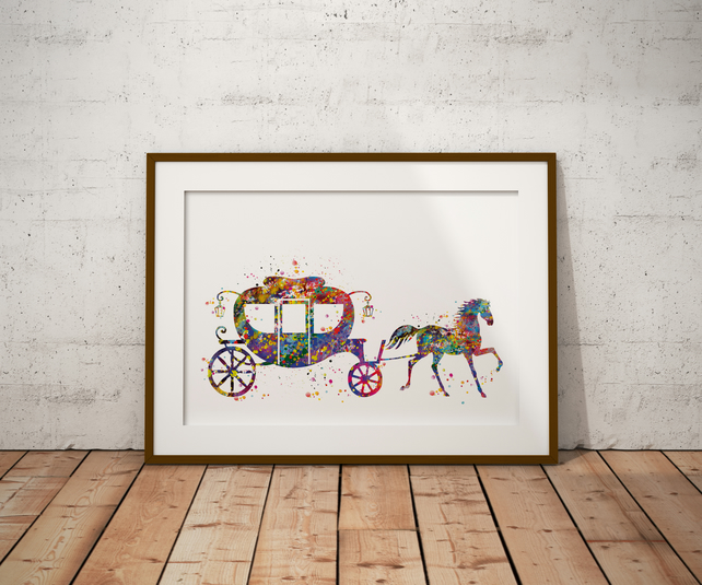 Cinderella Carrier Watercolour Print Wall Art