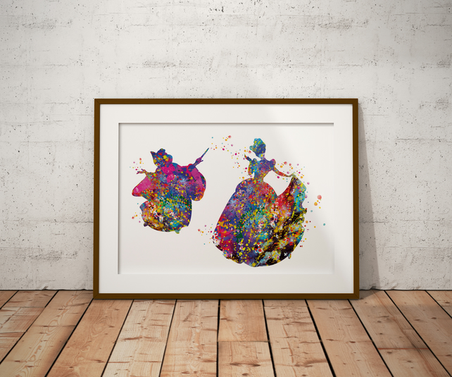 Cinderella's Fairy Godmother Watercolour Print Wall Art