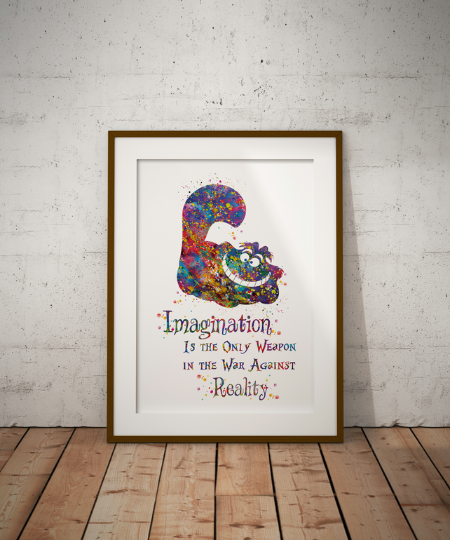 Cheshire Cat Quote 2 Watercolour Print Wall Art