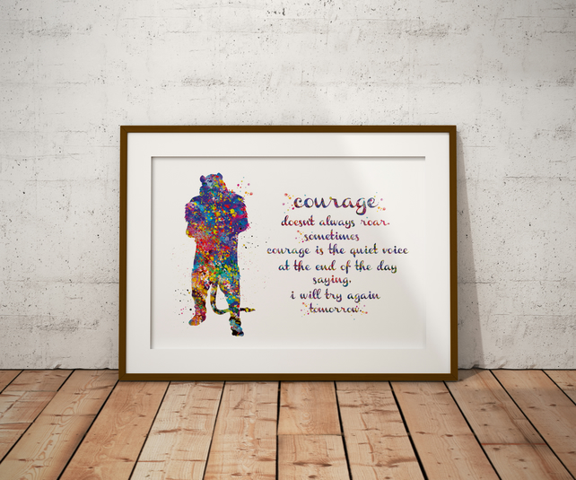 Cowardly Quote Watercolour Print Wall Art