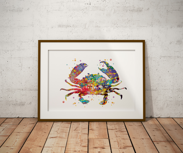 Crab 2 Watercolour Print Wall Art