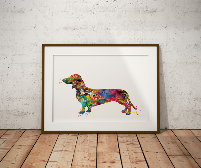 Dachshund Watercolour Print Wall Art