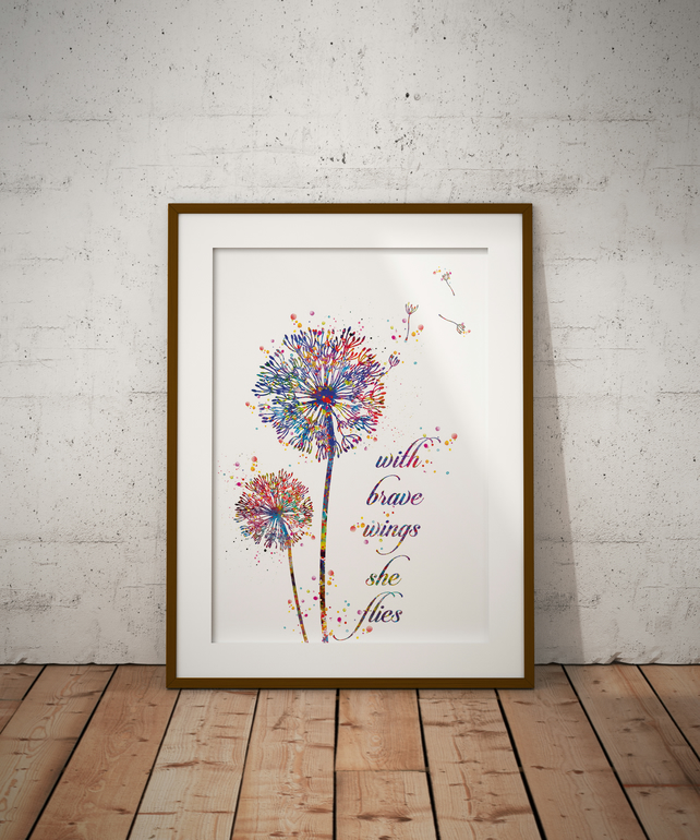 Dandelion Quote Watercolour Print Wall Art