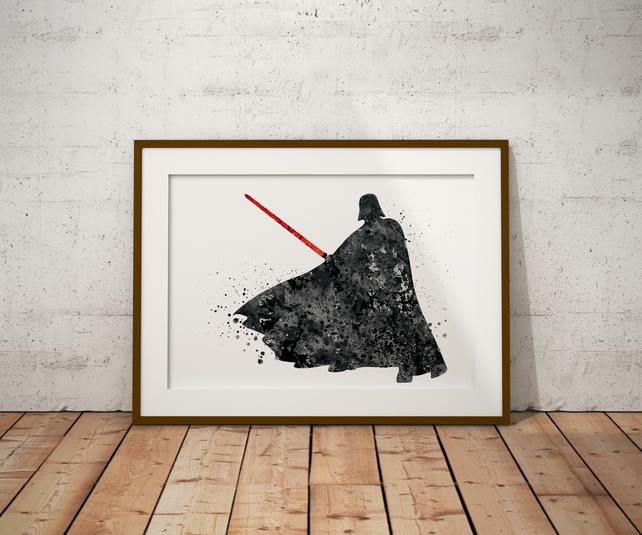 Darth Vader Black And White Watercolour Print Wall Art