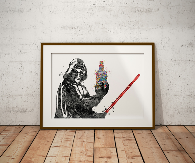 Darth Vader Jack Daniels Watercolour Print Wall Art