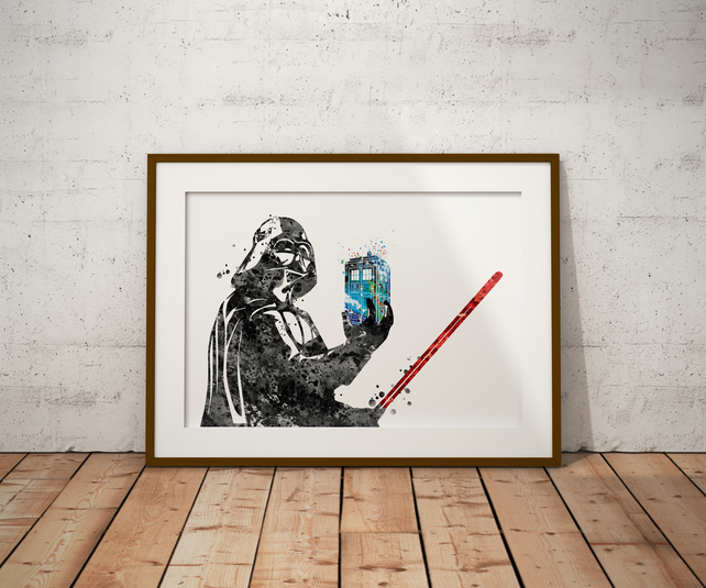 Darth Vader Tardis Watercolour Print Wall Art