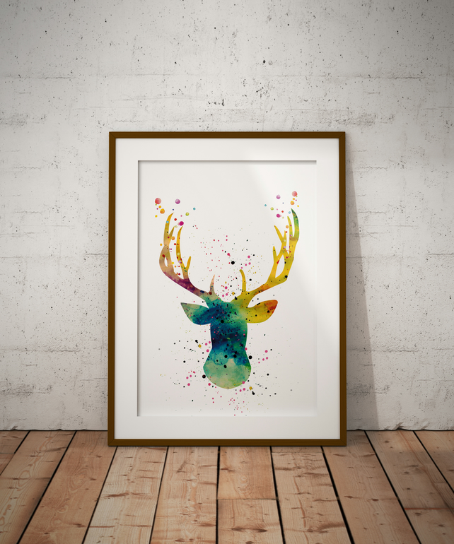 Deer Watercolour Print Wall Art