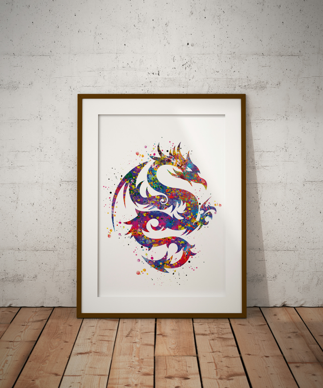 Dragon Tribal Watercolour Print Wall Art
