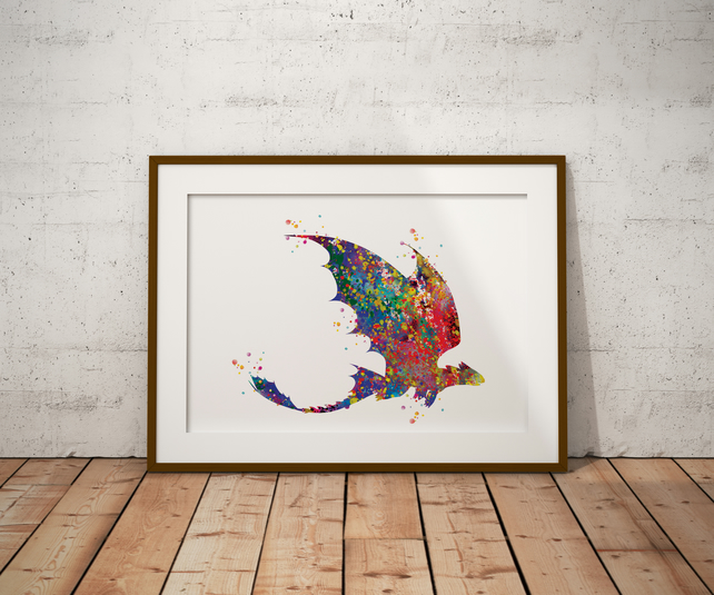 Dragon 2 Watercolour Print Wall Art