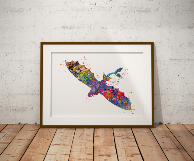 Dragon 3 Watercolour Print Wall Art
