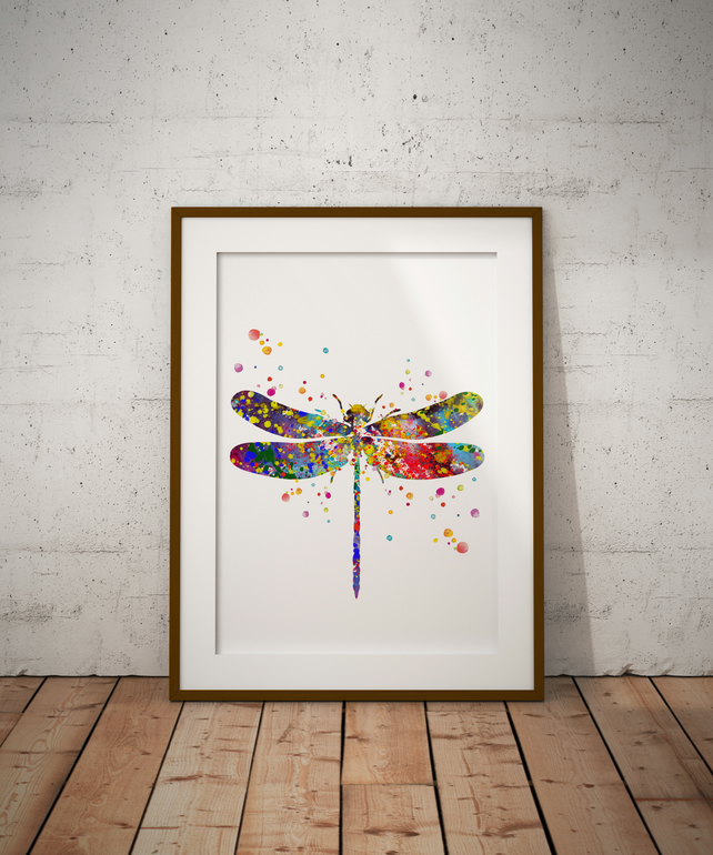 Dragon Fly Watercolour Print Wall Art