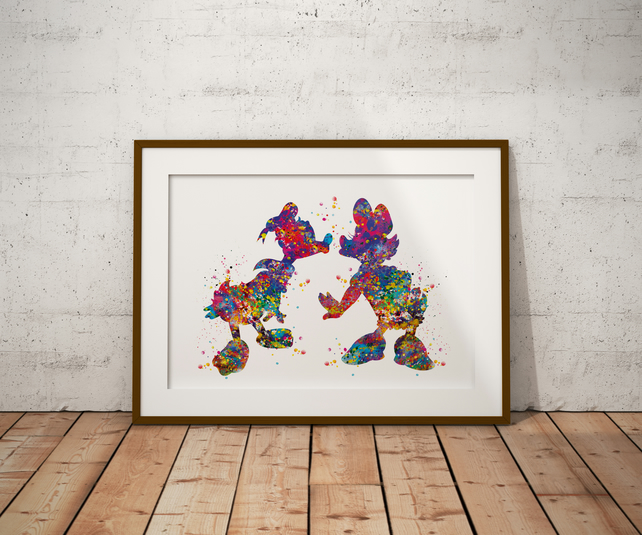 Donald And Daisy Duck Watercolour Print Wall Art