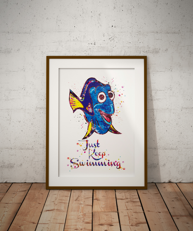 Dory Quote  Watercolour Print Wall Art