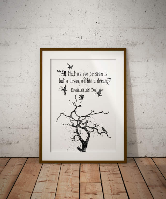 Edgar Allen Poe Quote Watercolour Print Wall Art