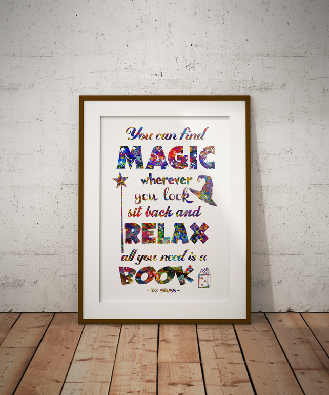 Dr Seuss Quote  Watercolour Print Wall Art