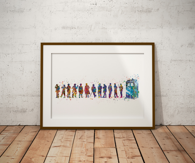 Dr Who Tardis And Doctors Watercolour Print Wall Art