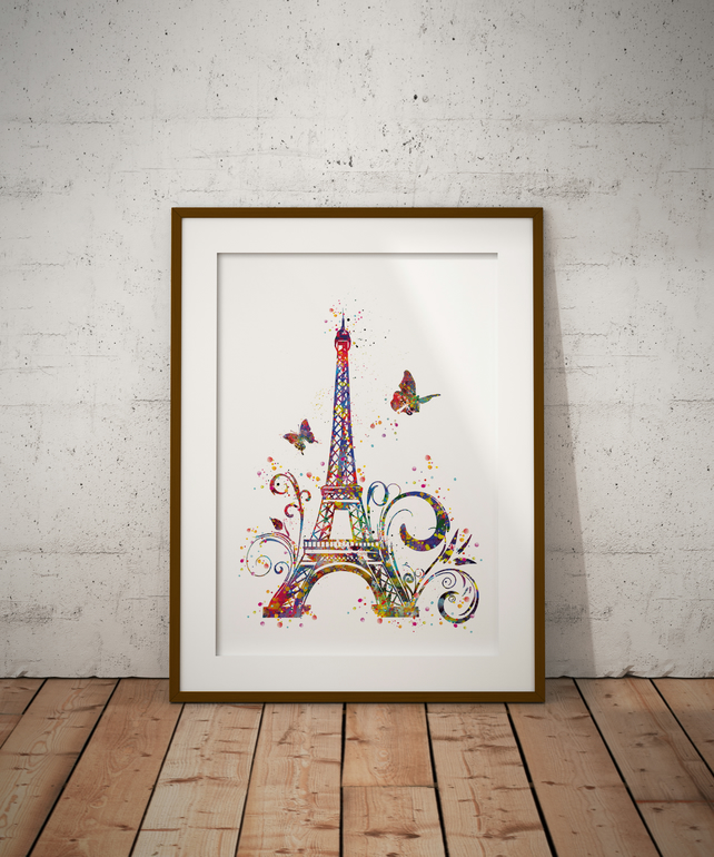 Eiffel Tower Watercolour Print Wall Art