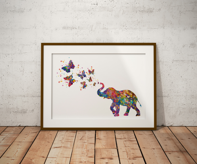 Elephant And Butterflies Watercolour Print Wall Art