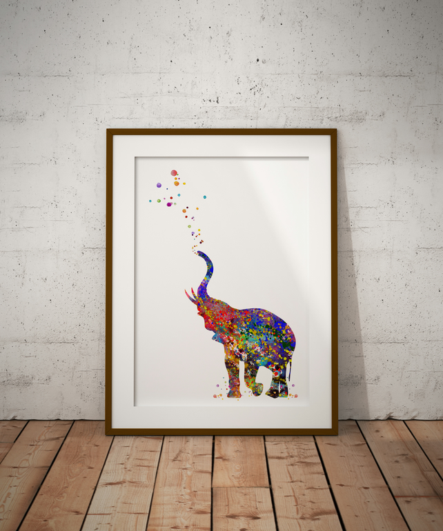 Elephant Watercolour Print Wall Art