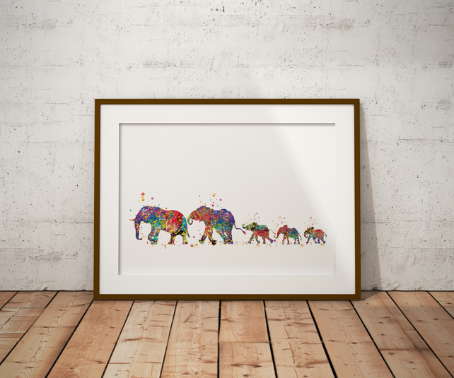 Elephant Family 6 Watercolour Print Wall Art
