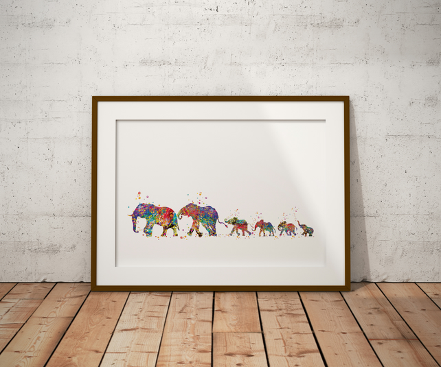Elephant Family 7 Watercolour Print Wall Art