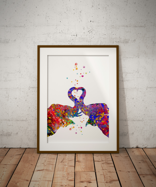 Elephant Kiss Watercolour Print Wall Art