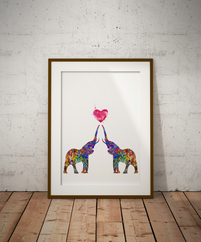 Elephant Love Watercolour Print Wall Art