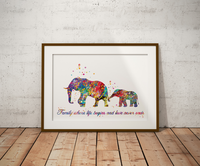 Elephants Quote Watercolour Print Wall Art