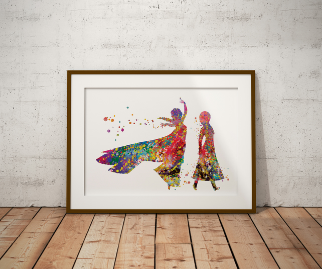 Elsa And Anna Watercolour Print Wall Art