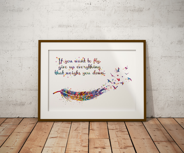 Feather Quote Watercolour Print Wall Art