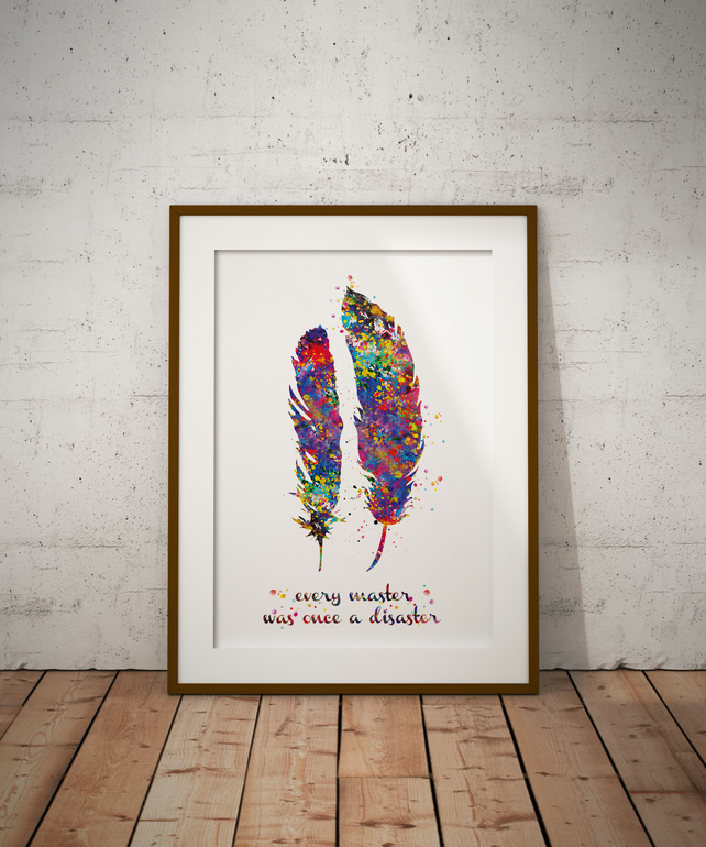 Feather Quote 2 Watercolour Print Wall Art
