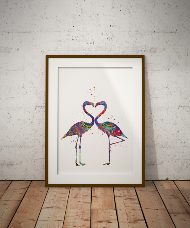 Flamingo Love Watercolour Print Wall Art
