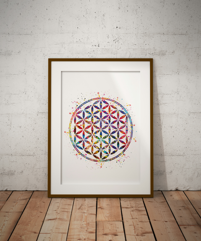 Flower Of Life Watercolour Print Wall Art