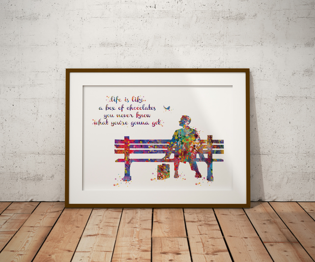 Forrest Gump Quote 2 Watercolour Print Wall Art