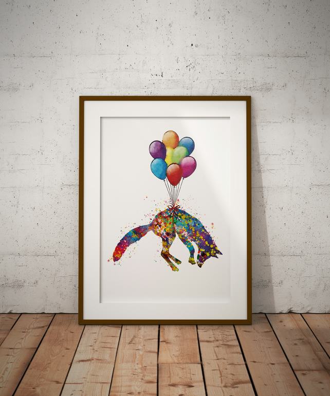 Fox Balloon Watercolour Print Wall Art