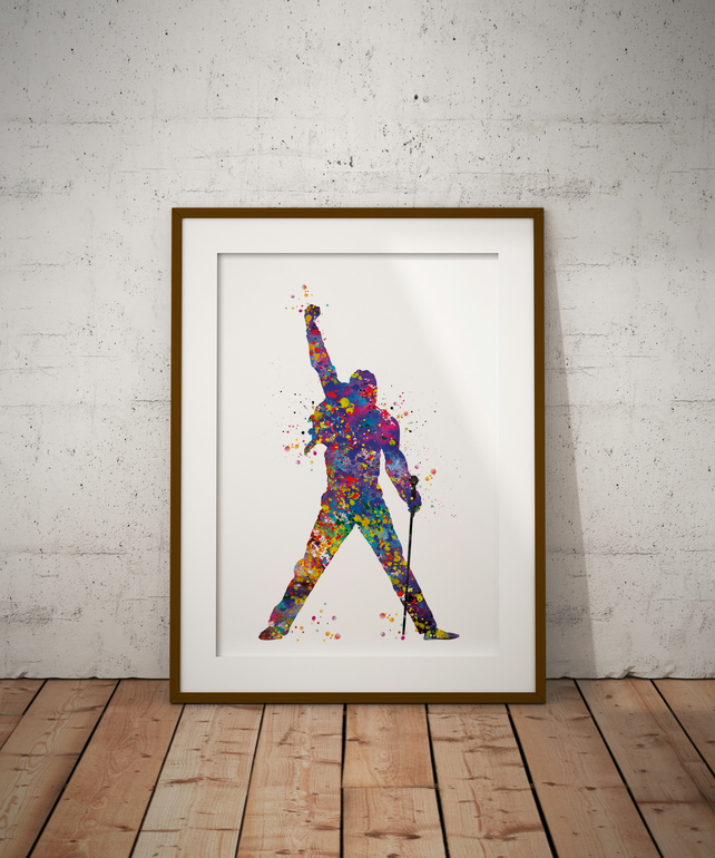 Freddie Mercury Watercolour Print Wall Art